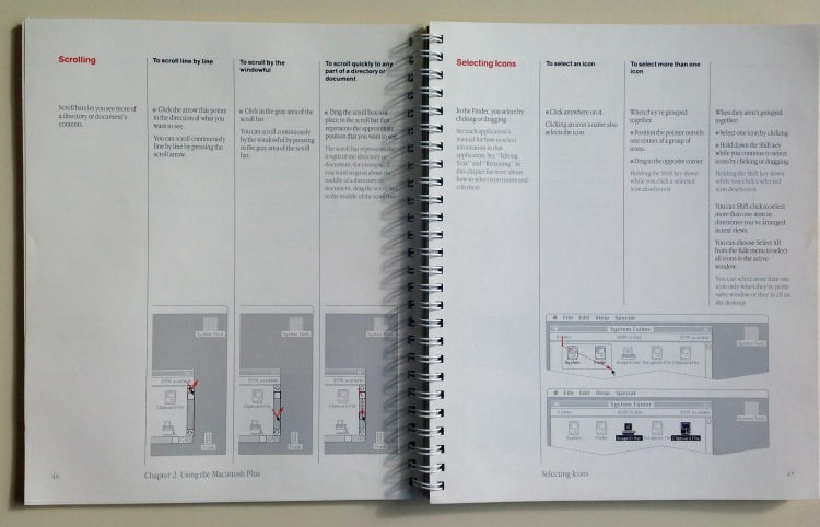 Photo of pages 46 and 47 of Macintosh Plus user's guide, showing tasks and subtasks with integrated illustrations