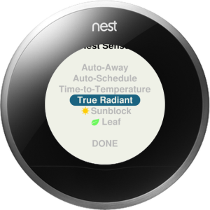 Photo of Nest Learning Thermostat menu of settings