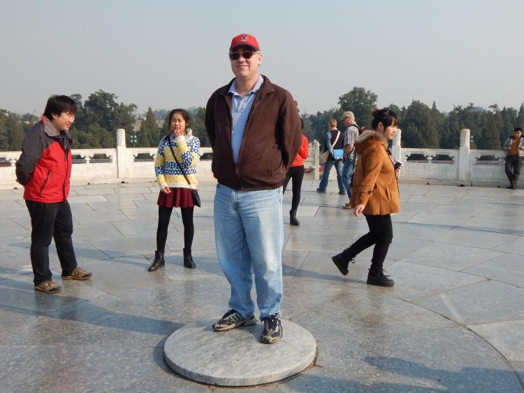 Steve Jong standing on the altar of the Temple of Heaven, Beijing, China, November 2014